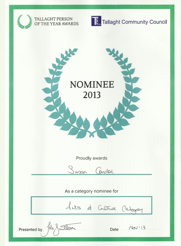 Tallaght Nominee 2013 Certificate